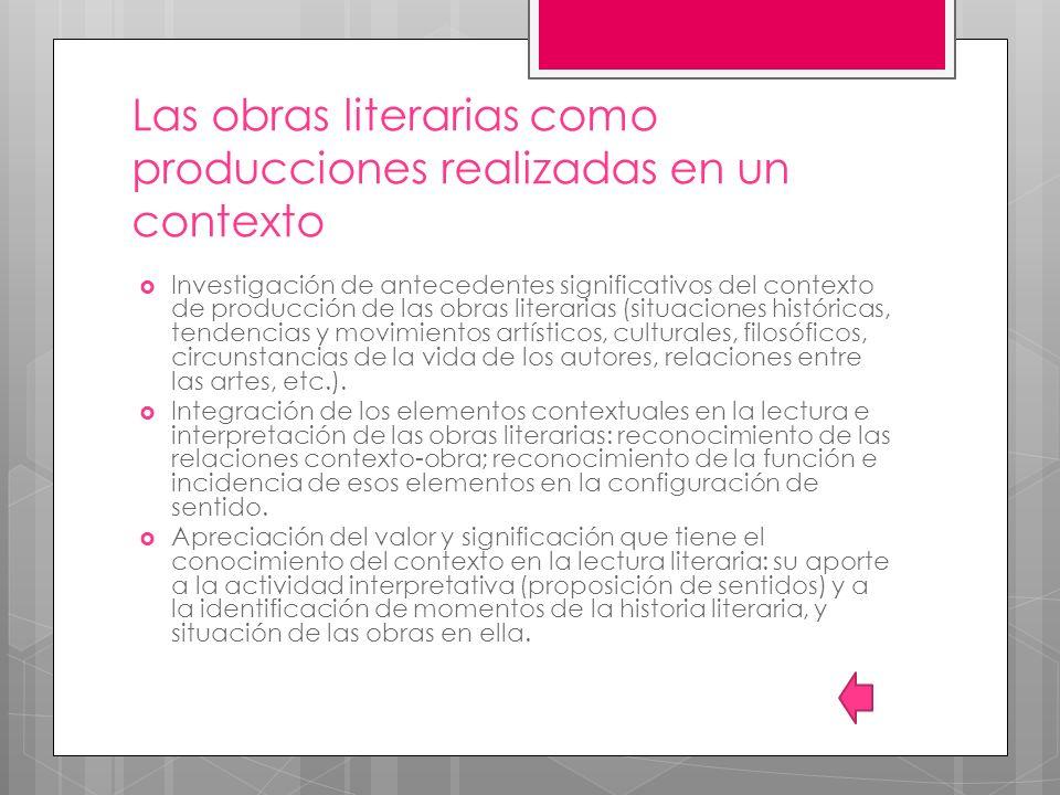 Las obras literarias como producciones realizadas en un contexto