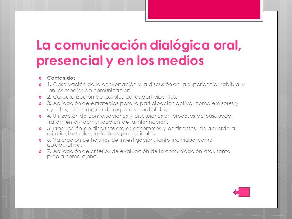 La comunicación dialógica oral, presencial y en los medios
