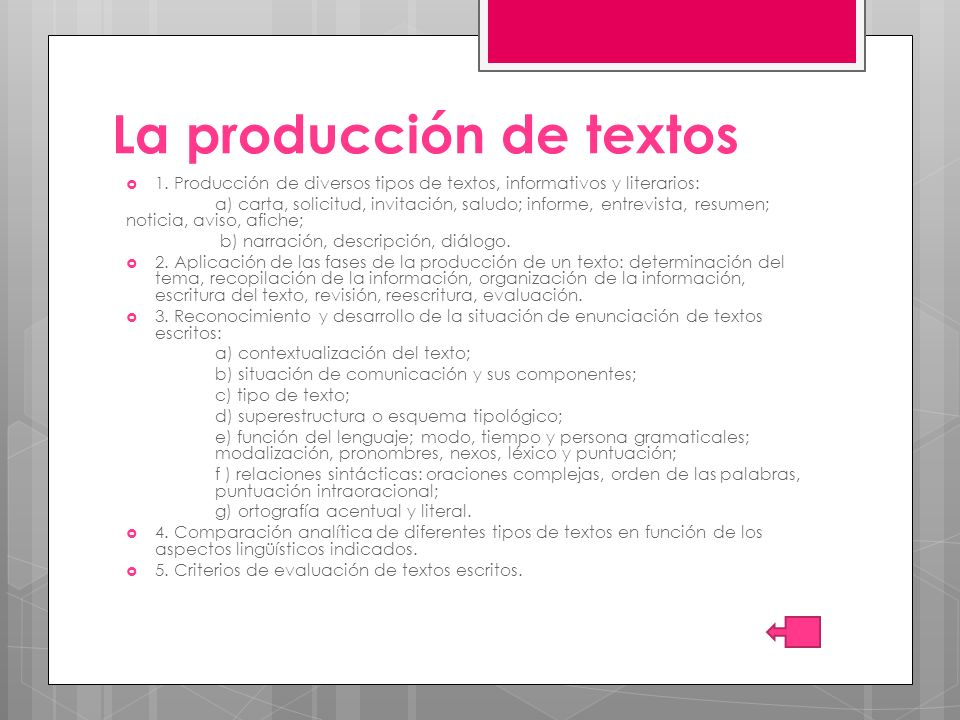La producción de textos