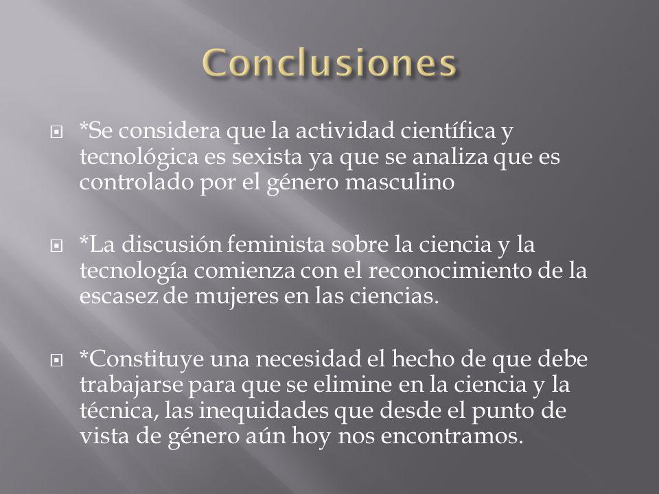 Conclusiones *Se considera que la actividad científica y tecnológica es sexista ya que se analiza que es controlado por el género masculino.