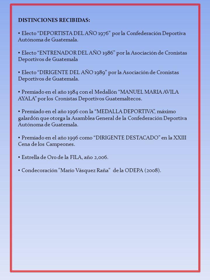 DISTINCIONES RECIBIDAS: