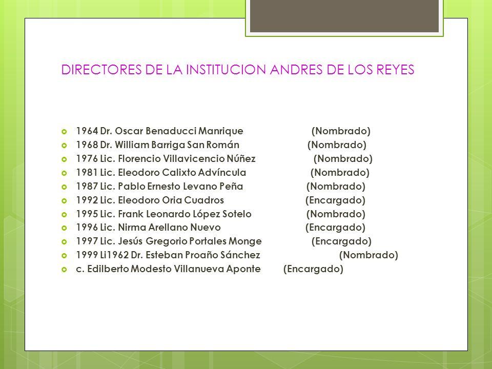 DIRECTORES DE LA INSTITUCION ANDRES DE LOS REYES