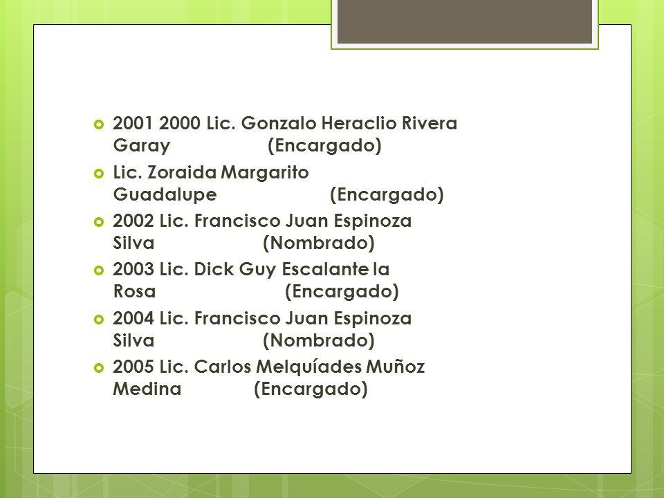 2001 2000 Lic. Gonzalo Heraclio Rivera Garay (Encargado)