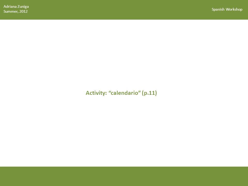 Activity: calendario (p.11)