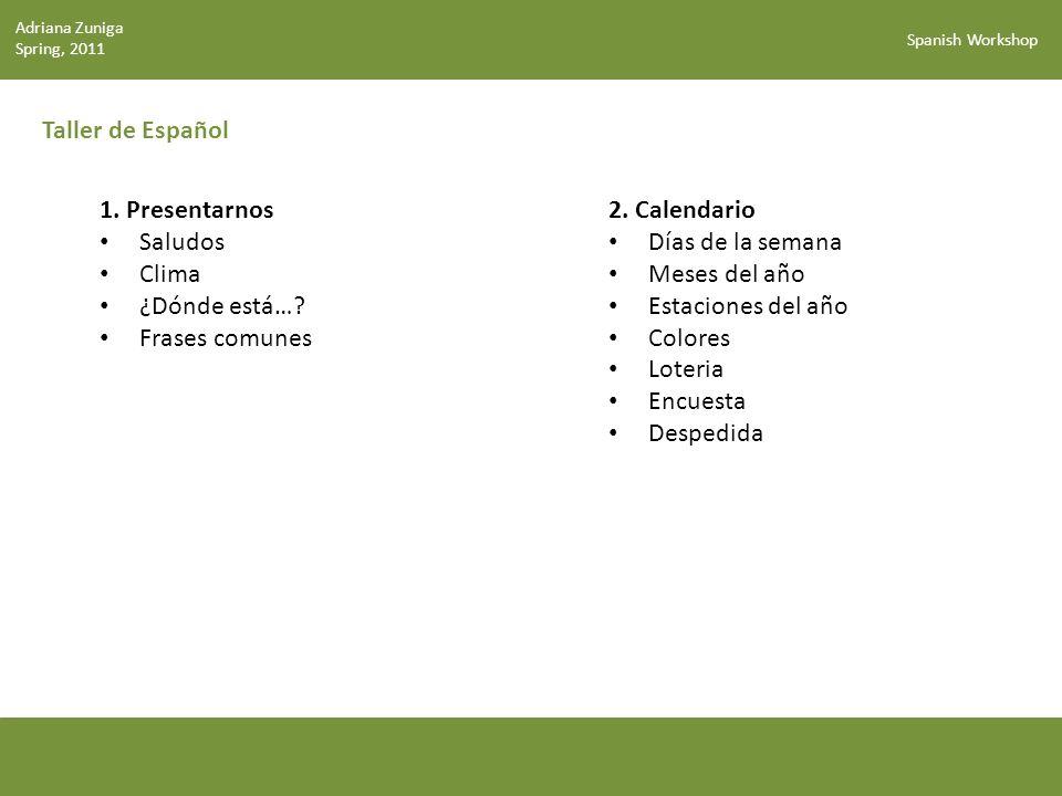 Taller de Español 1. Presentarnos Saludos Clima ¿Dónde está…