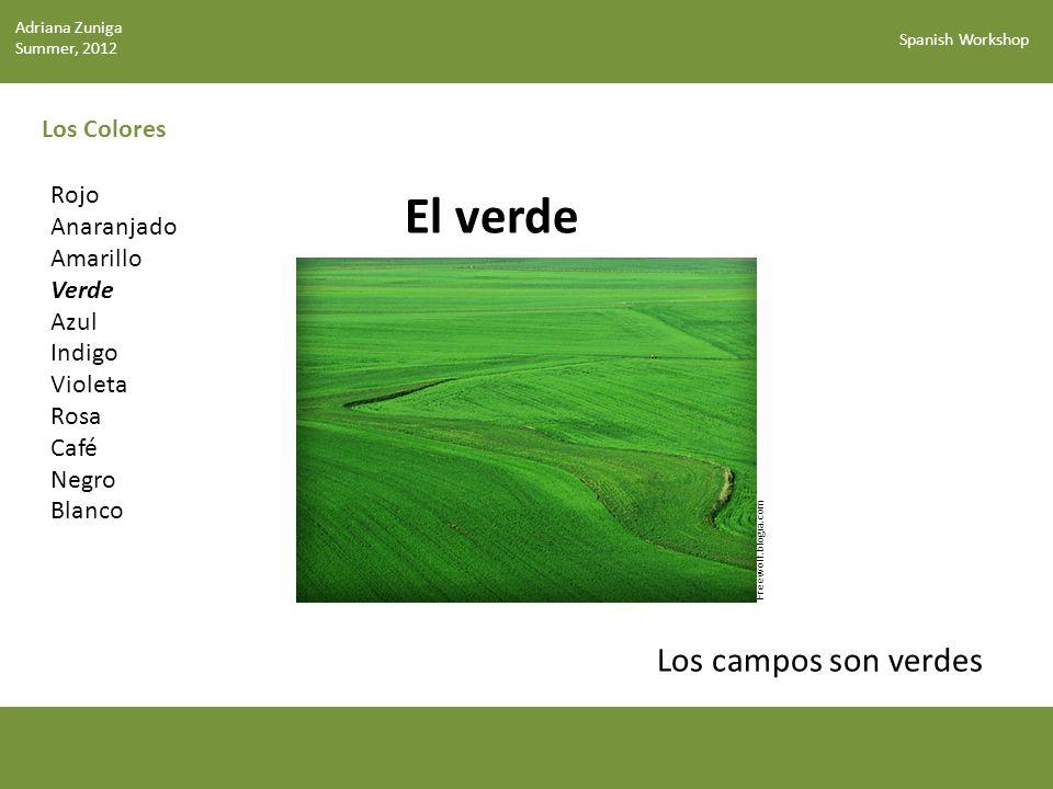 El verde Los campos son verdes Los Colores Rojo Anaranjado Amarillo