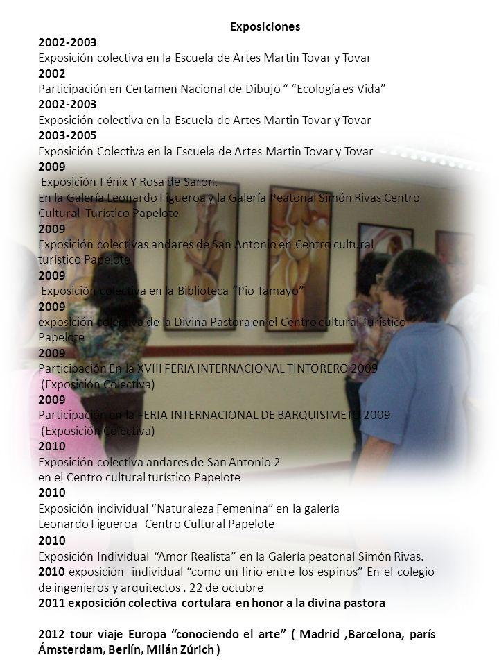 Exposiciones 2002-2003. Exposición colectiva en la Escuela de Artes Martin Tovar y Tovar. 2002.