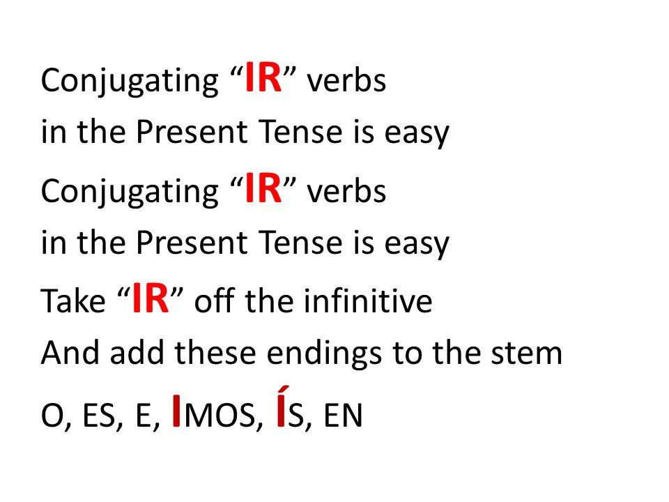 Conjugating IR verbs