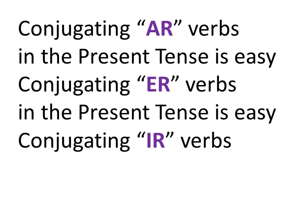 Conjugating AR verbs in the Present Tense is easy Conjugating ER verbs Conjugating IR verbs