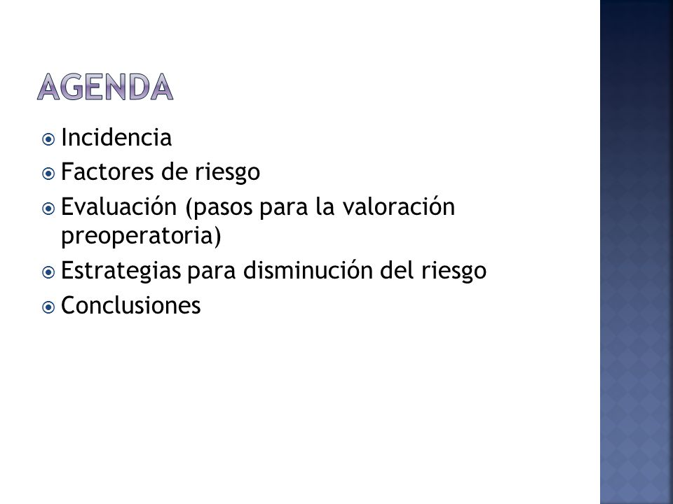 Agenda Incidencia Factores de riesgo