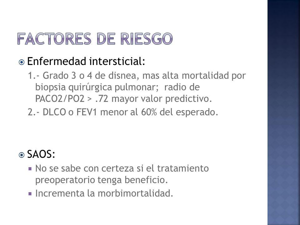 Factores de riesgo Enfermedad intersticial: SAOS:
