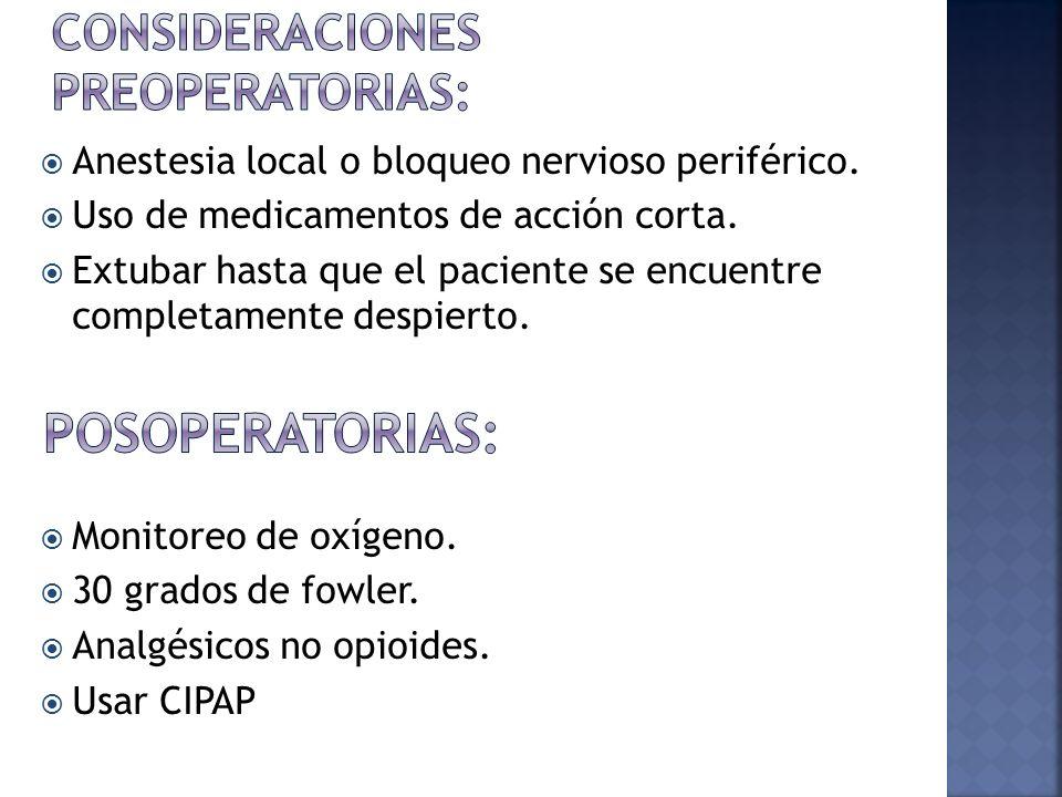 Consideraciones preoperatorias: