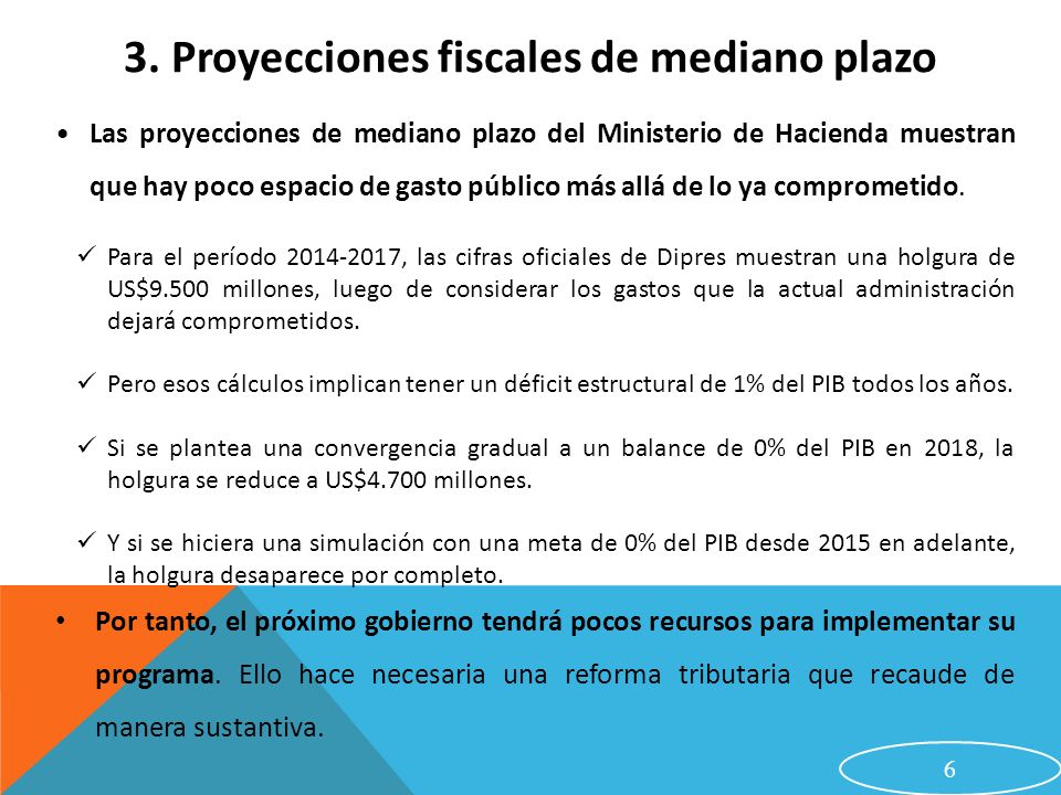 3. Proyecciones fiscales de mediano plazo
