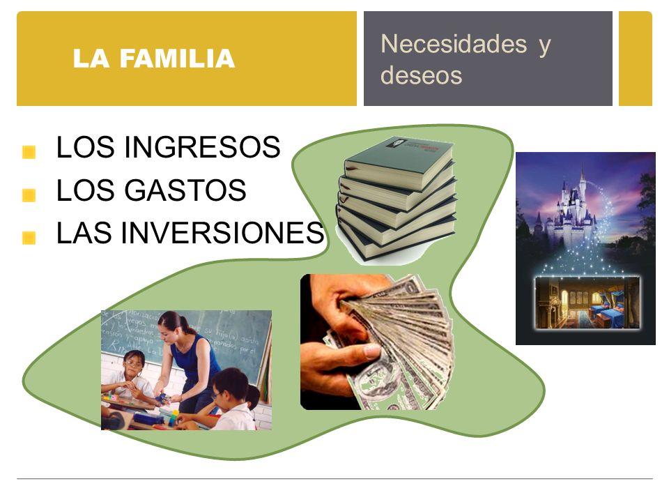 LOS INGRESOS LOS GASTOS LAS INVERSIONES Necesidades y deseos