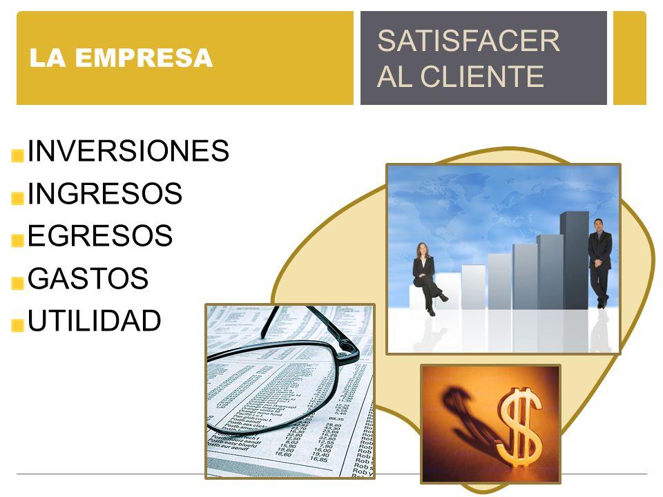 SATISFACER AL CLIENTE INVERSIONES INGRESOS EGRESOS GASTOS UTILIDAD