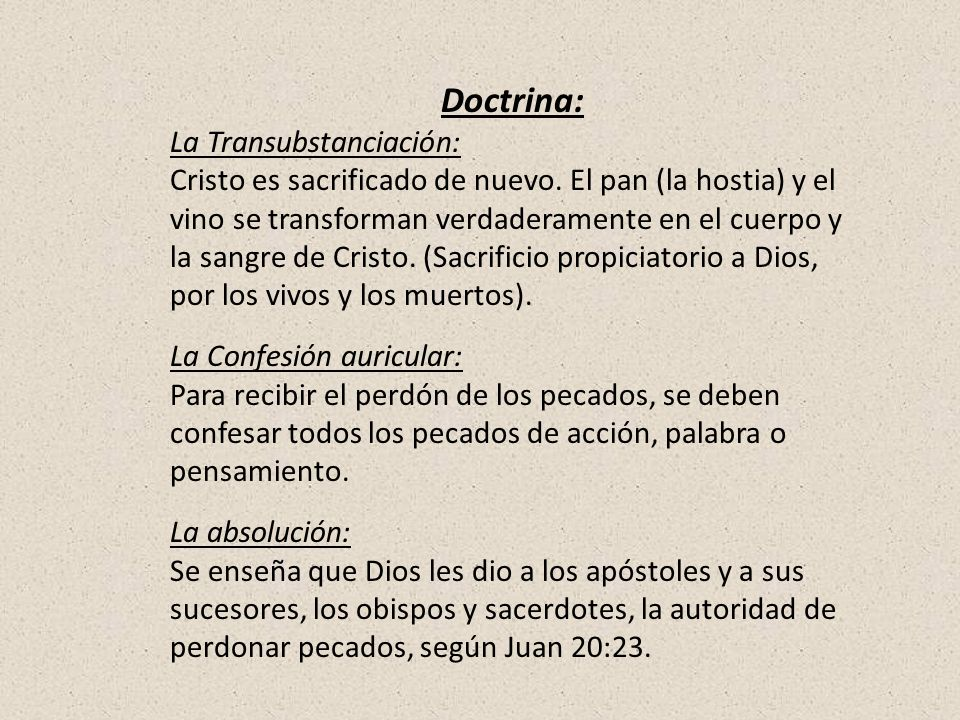 Doctrina: La Transubstanciación: