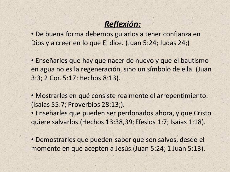 Reflexión: De buena forma debemos guiarlos a tener confianza en Dios y a creer en lo que El dice. (Juan 5:24; Judas 24;)