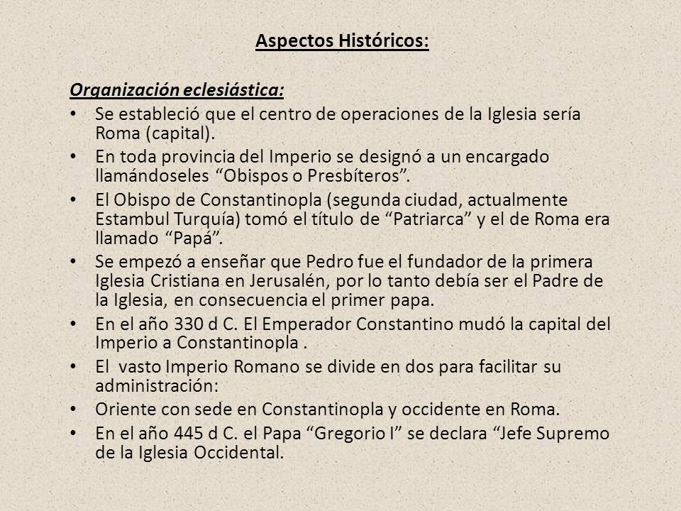 Organización eclesiástica:
