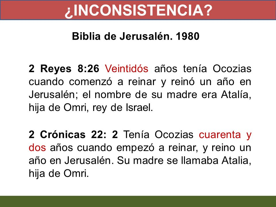¿INCONSISTENCIA Biblia de Jerusalén. 1980