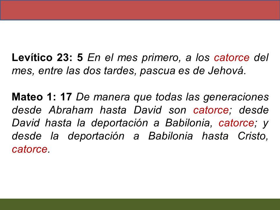 Levítico 23: 5 En el mes primero, a los catorce del mes, entre las dos tardes, pascua es de Jehová.