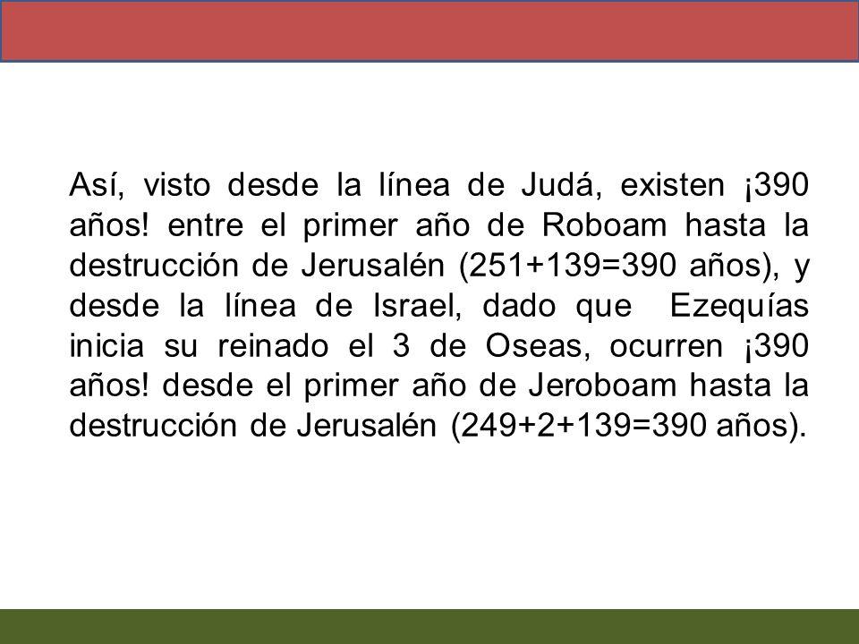 Así, visto desde la línea de Judá, existen ¡390 años