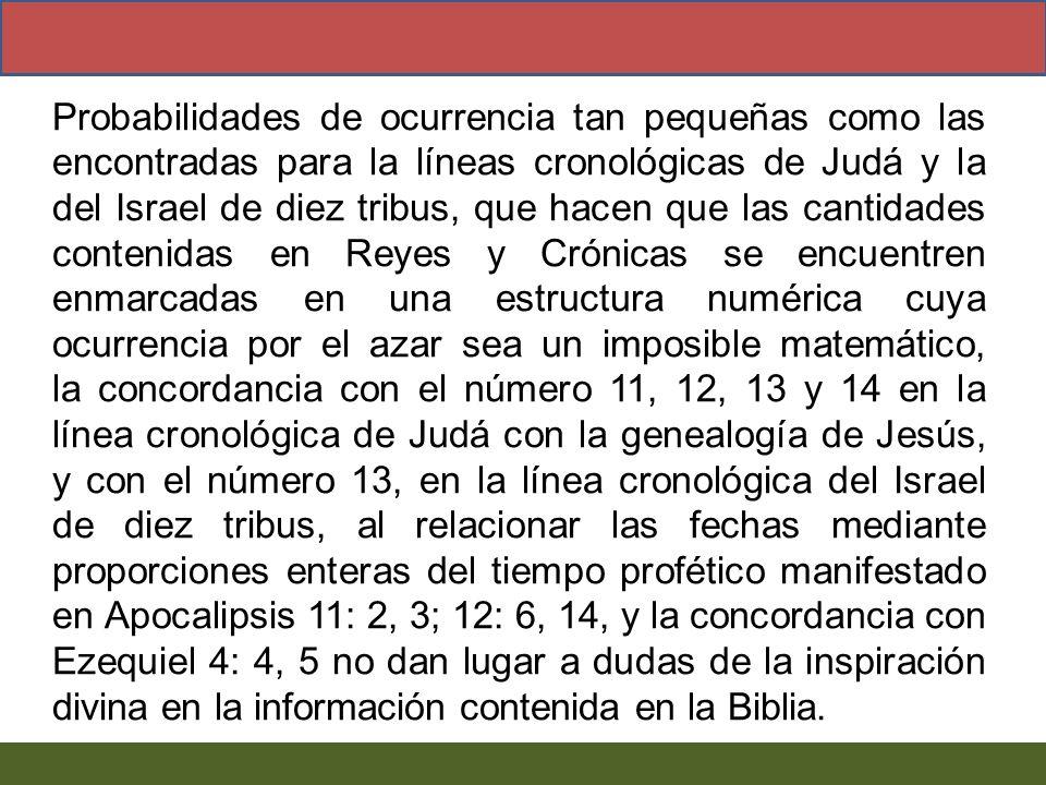 Probabilidades de ocurrencia tan pequeñas como las encontradas para la líneas cronológicas de Judá y la del Israel de diez tribus, que hacen que las cantidades contenidas en Reyes y Crónicas se encuentren enmarcadas en una estructura numérica cuya ocurrencia por el azar sea un imposible matemático, la concordancia con el número 11, 12, 13 y 14 en la línea cronológica de Judá con la genealogía de Jesús, y con el número 13, en la línea cronológica del Israel de diez tribus, al relacionar las fechas mediante proporciones enteras del tiempo profético manifestado en Apocalipsis 11: 2, 3; 12: 6, 14, y la concordancia con Ezequiel 4: 4, 5 no dan lugar a dudas de la inspiración divina en la información contenida en la Biblia.