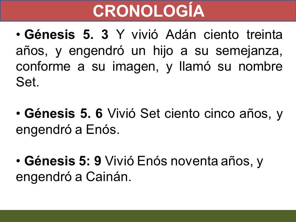 CRONOLOGÍA Génesis 5. 3 Y vivió Adán ciento treinta años, y engendró un hijo a su semejanza, conforme a su imagen, y llamó su nombre Set.