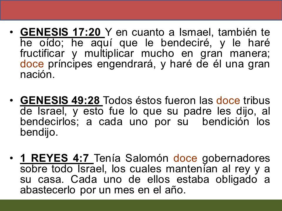 GENESIS 17:20 Y en cuanto a Ismael, también te he oído; he aquí que le bendeciré, y le haré fructificar y multiplicar mucho en gran manera; doce príncipes engendrará, y haré de él una gran nación.