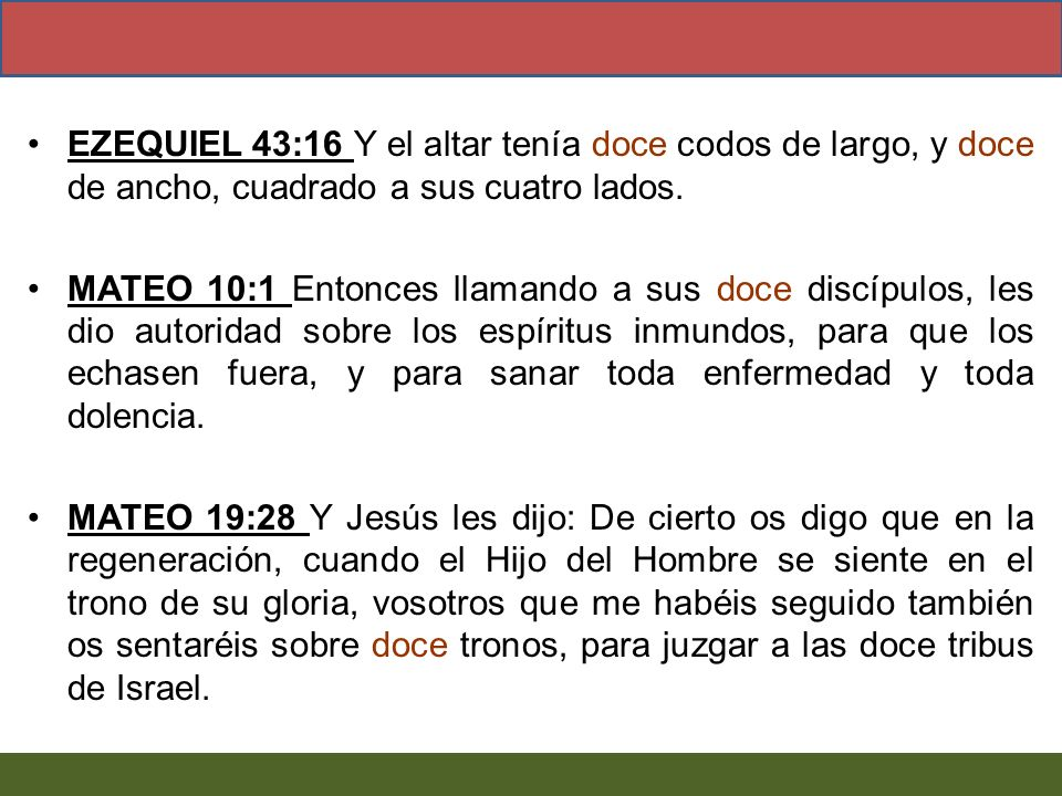 EZEQUIEL 43:16 Y el altar tenía doce codos de largo, y doce de ancho, cuadrado a sus cuatro lados.