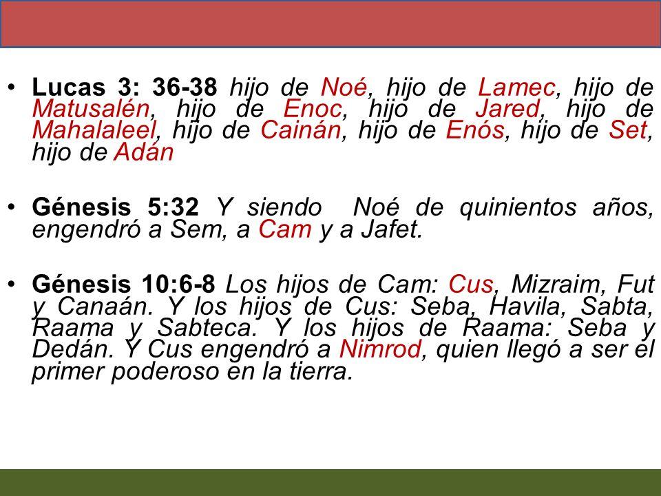 Lucas 3: 36-38 hijo de Noé, hijo de Lamec, hijo de Matusalén, hijo de Enoc, hijo de Jared, hijo de Mahalaleel, hijo de Cainán, hijo de Enós, hijo de Set, hijo de Adán