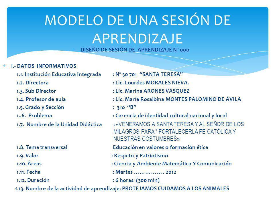 MODELO DE UNA SESIÓN DE APRENDIZAJE