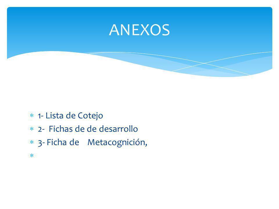 ANEXOS 1- Lista de Cotejo 2- Fichas de de desarrollo