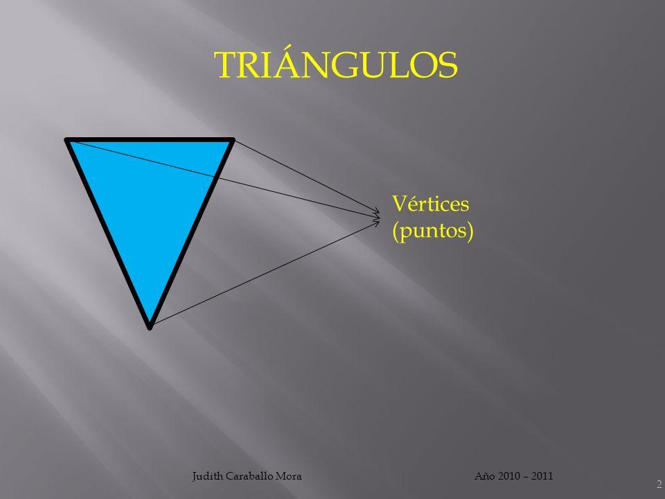 TRIÁNGULOS Vértices (puntos) Judith Caraballo Mora Año 2010 – 2011
