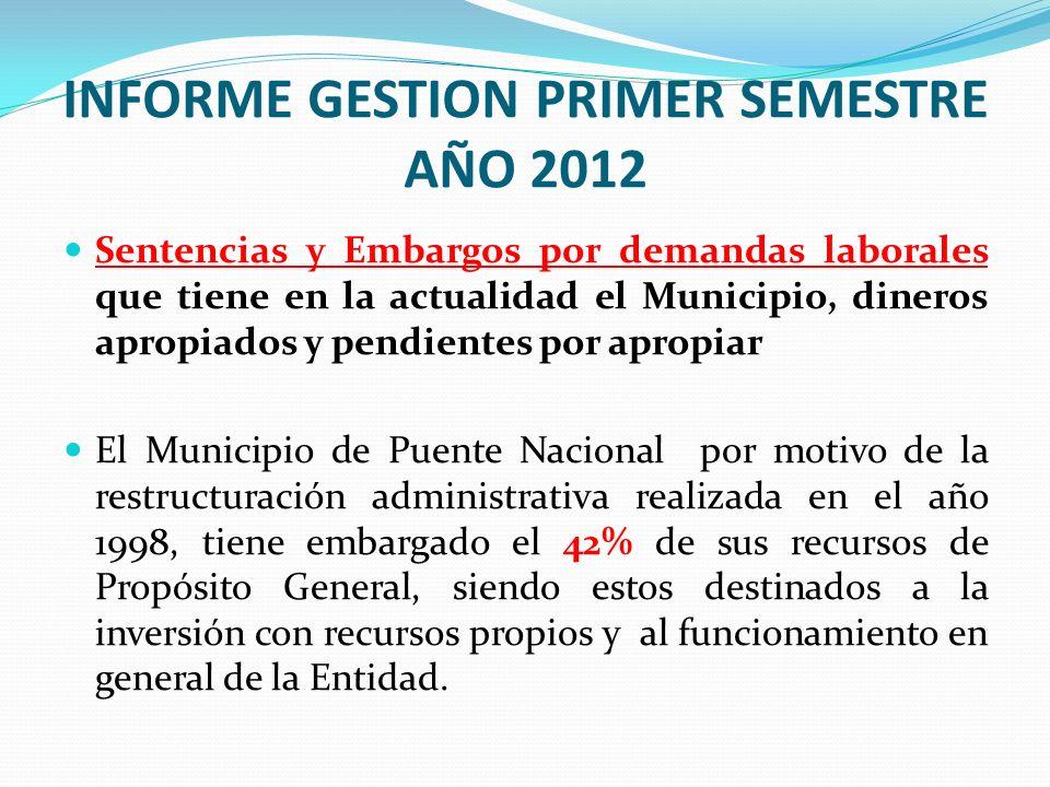 INFORME GESTION PRIMER SEMESTRE AÑO 2012