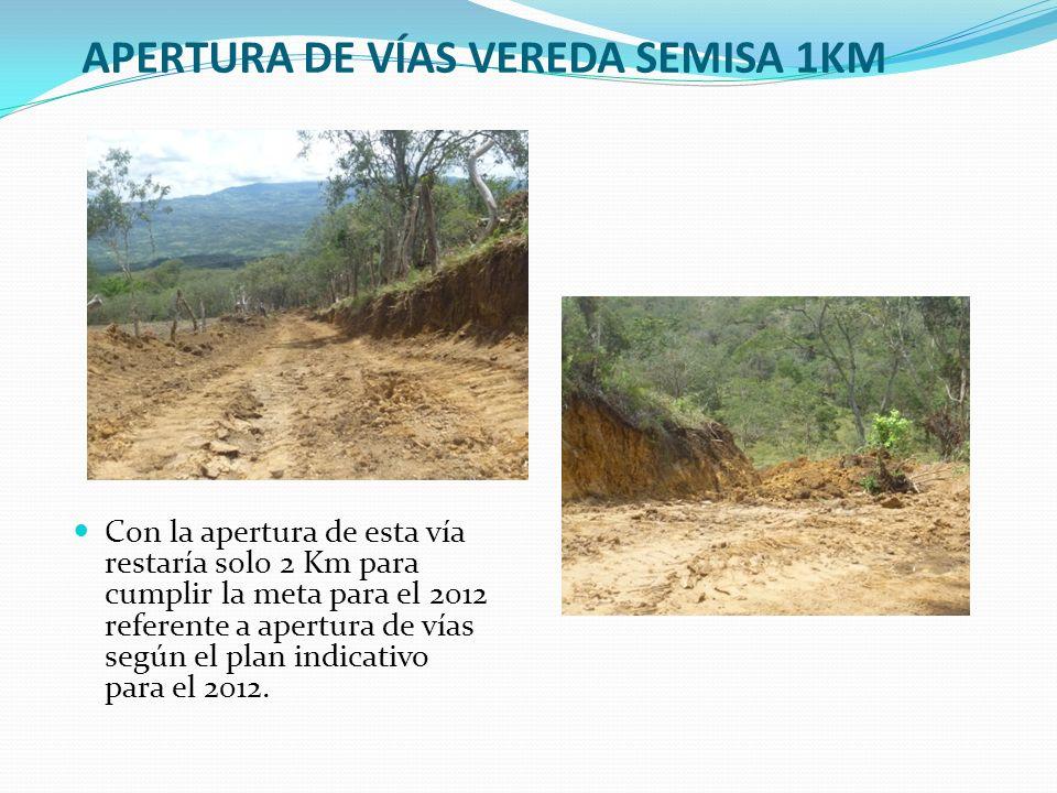 APERTURA DE VÍAS VEREDA SEMISA 1KM