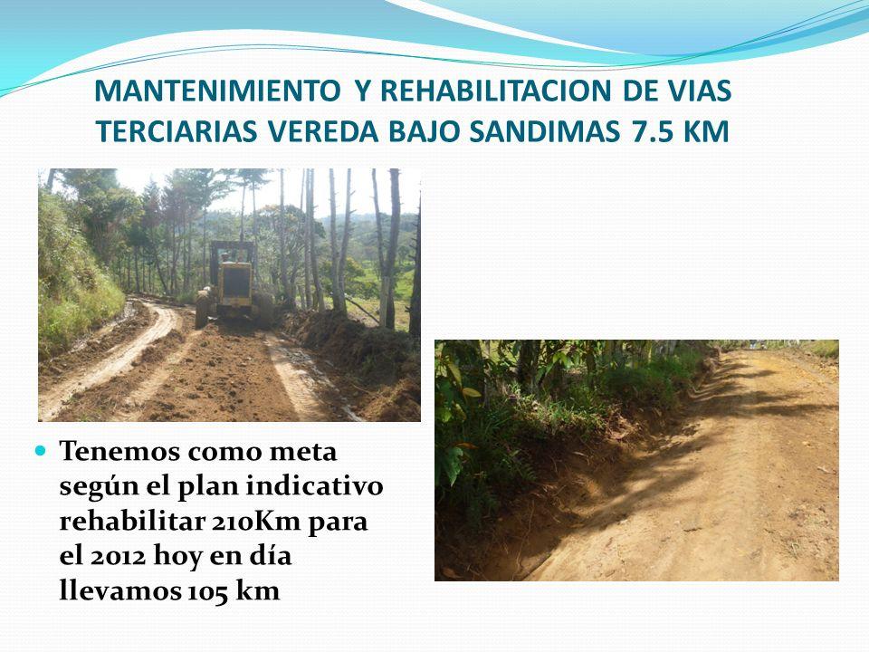 MANTENIMIENTO Y REHABILITACION DE VIAS TERCIARIAS VEREDA BAJO SANDIMAS 7.5 KM