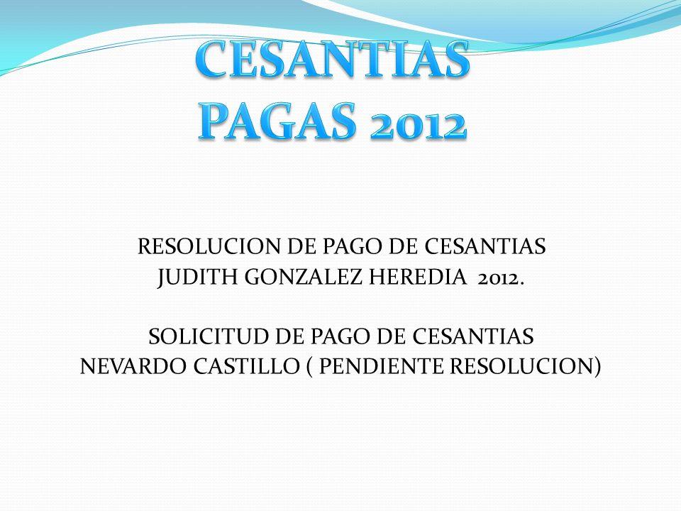 CESANTIAS PAGAS 2012