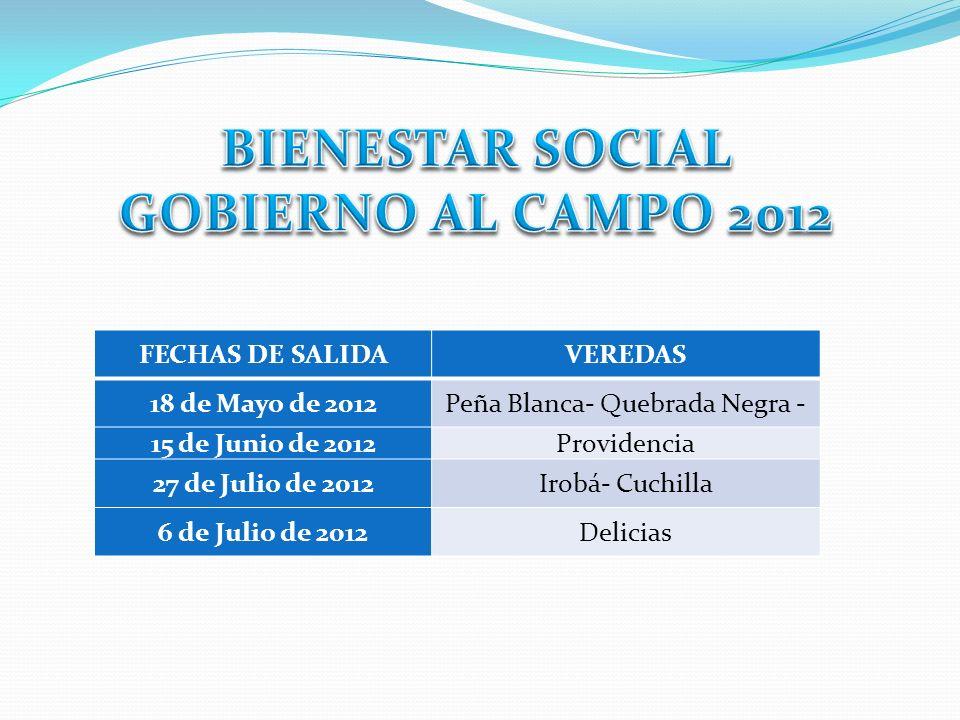 BIENESTAR SOCIAL GOBIERNO AL CAMPO 2012