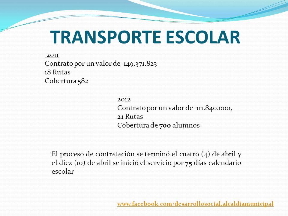 TRANSPORTE ESCOLAR 2011 Contrato por un valor de 149.371.823 18 Rutas