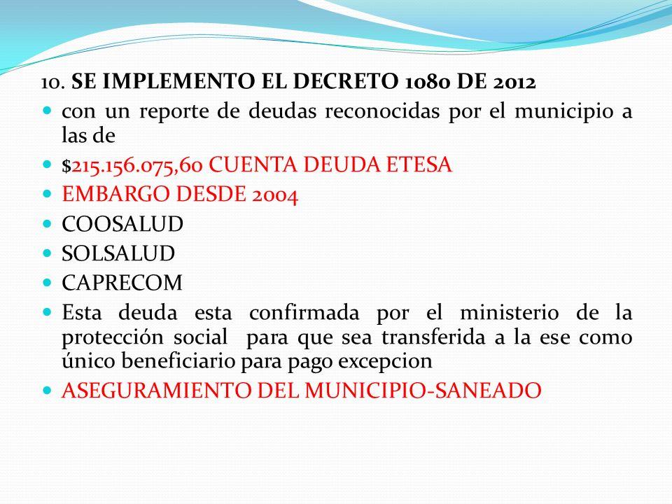 10. SE IMPLEMENTO EL DECRETO 1080 DE 2012