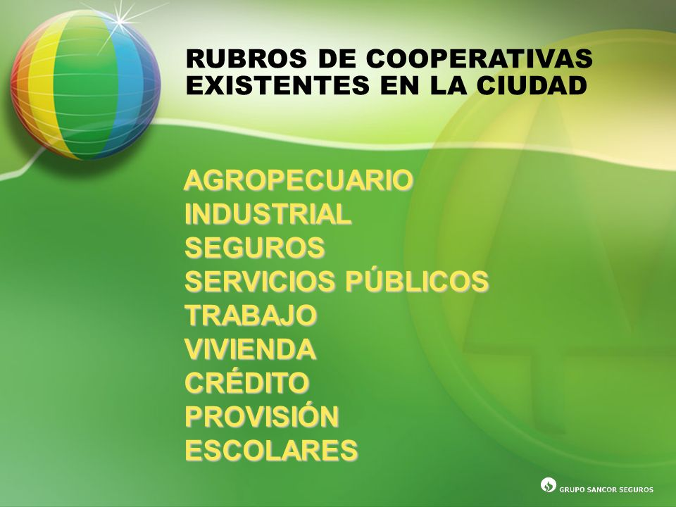 AGROPECUARIO INDUSTRIAL SEGUROS SERVICIOS PÚBLICOS TRABAJO VIVIENDA