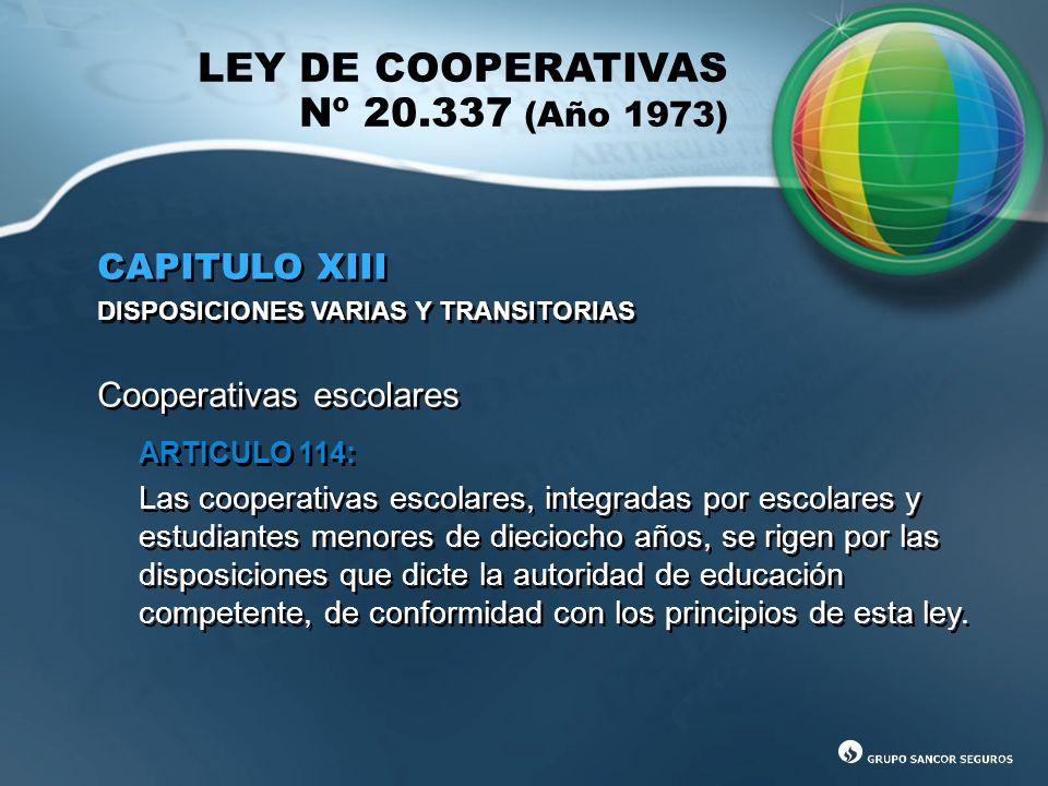 LEY DE COOPERATIVAS Nº 20.337 (Año 1973)
