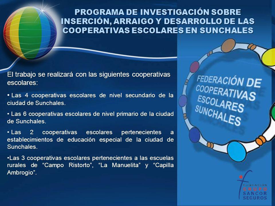 PROGRAMA DE INVESTIGACIÓN SOBRE INSERCIÓN, ARRAIGO Y DESARROLLO DE LAS COOPERATIVAS ESCOLARES EN SUNCHALES