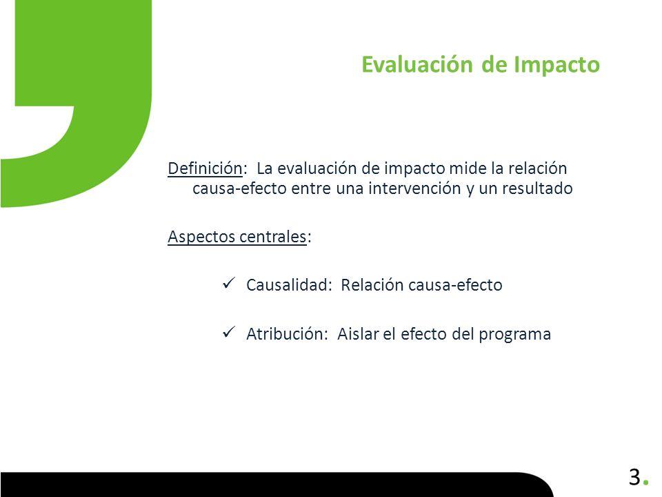 Evaluación de Impacto Definición: La evaluación de impacto mide la relación causa-efecto entre una intervención y un resultado.