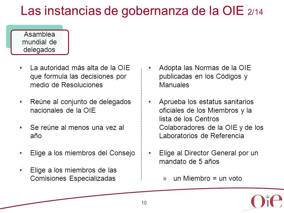 Las instancias de gobernanza de la OIE 2/14