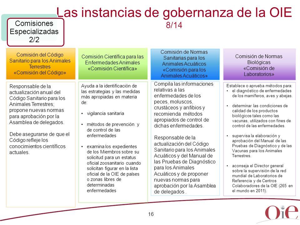Las instancias de gobernanza de la OIE 8/14