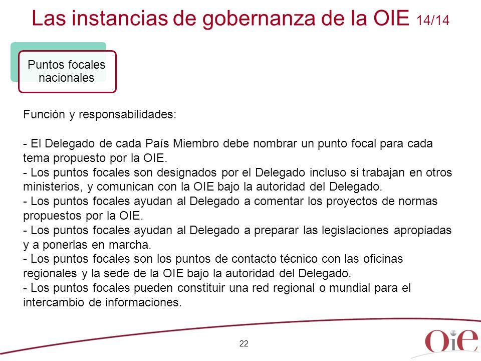 Las instancias de gobernanza de la OIE 14/14