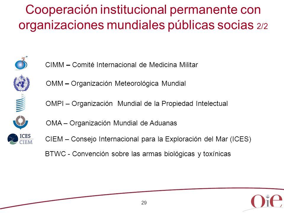 Cooperación institucional permanente con organizaciones mundiales públicas socias 2/2