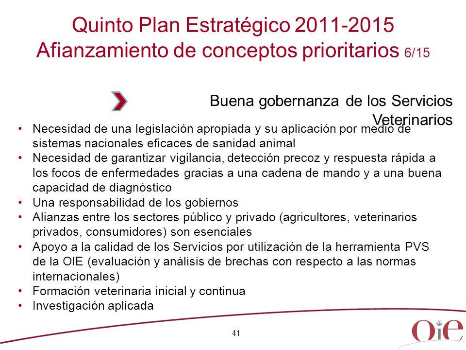 Quinto Plan Estratégico 2011-2015 Afianzamiento de conceptos prioritarios 6/15