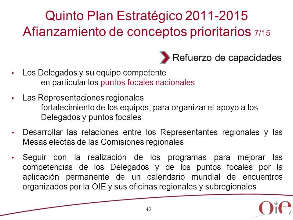 Quinto Plan Estratégico 2011-2015 Afianzamiento de conceptos prioritarios 7/15